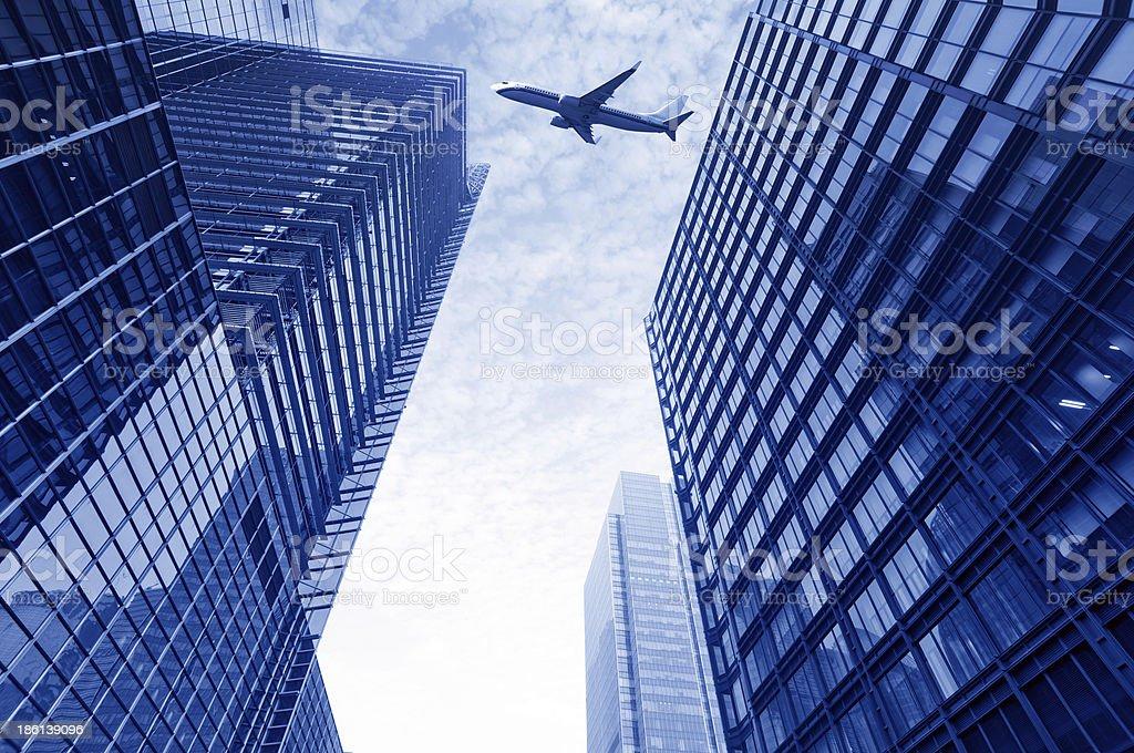 Aircraft on the Shanghai sky stock photo