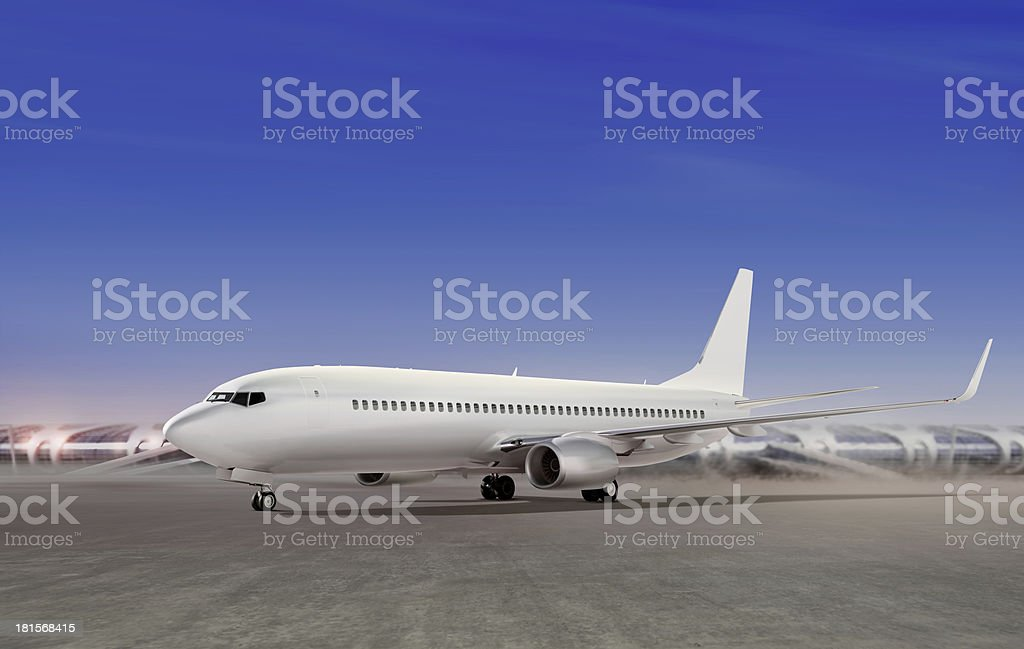 aircraft preparing to take off royalty-free stock photo