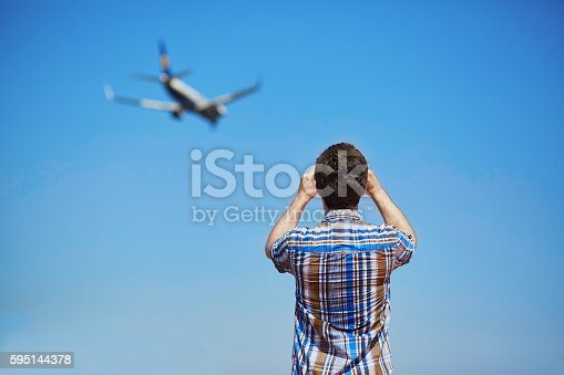 istock Aircraft spotting concept 595144378