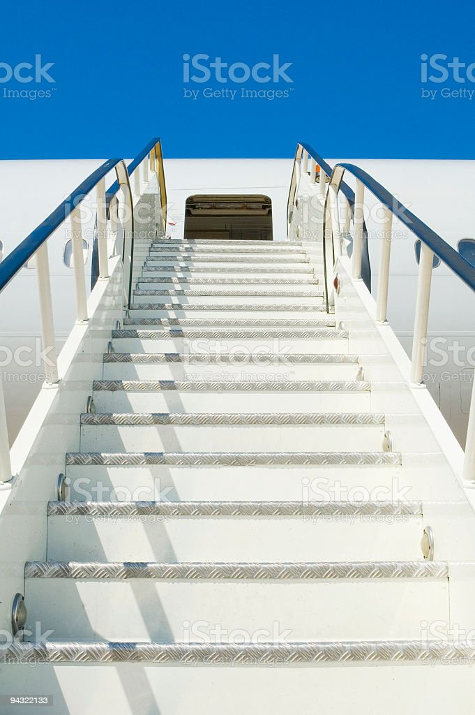 Aircraft steps stock photo