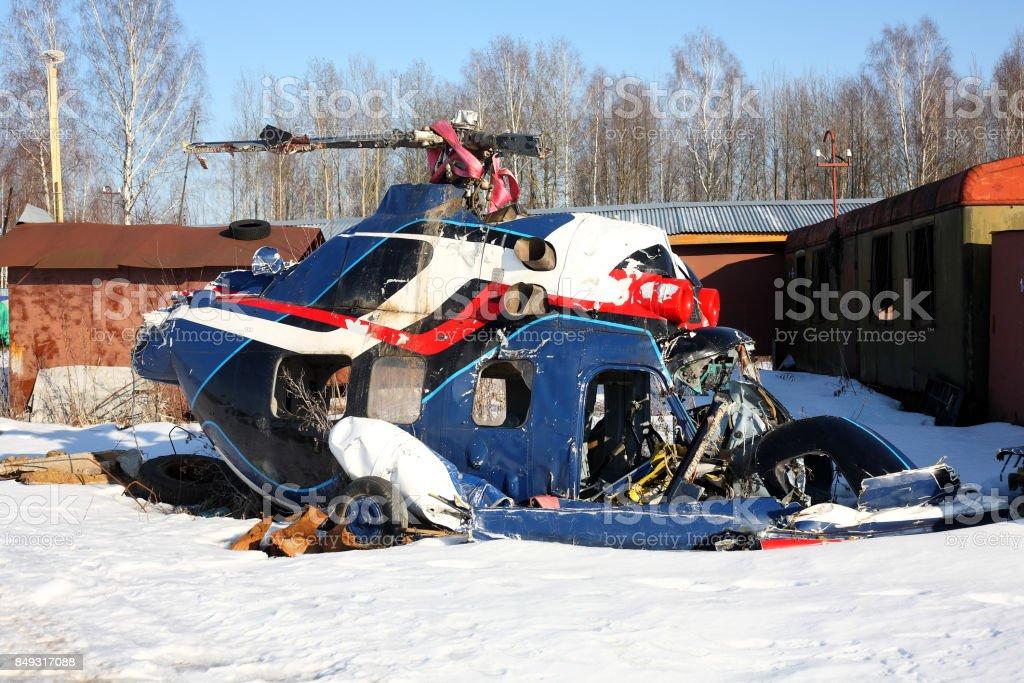 Aeronave - o helicóptero caiu - foto de acervo