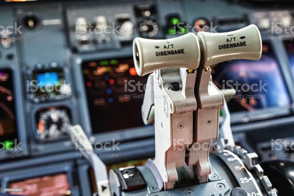Aircraft Throttle stock photo
