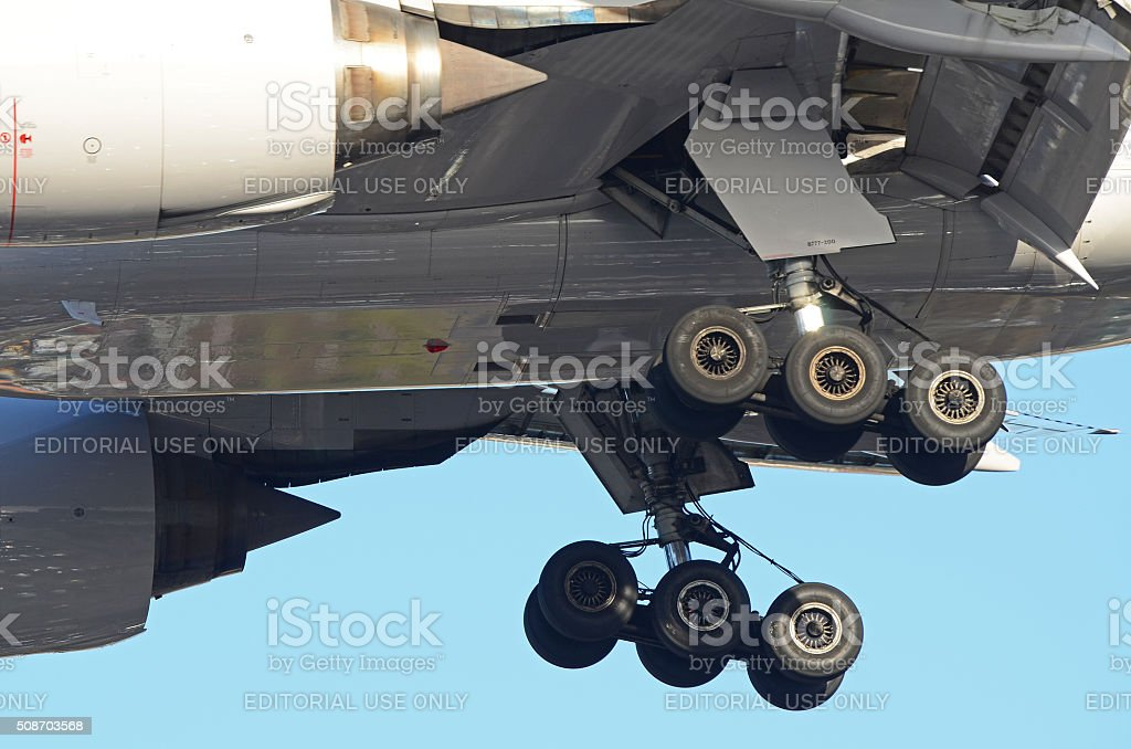 Aircraft Undercarriage on a Boeing 777 stock photo