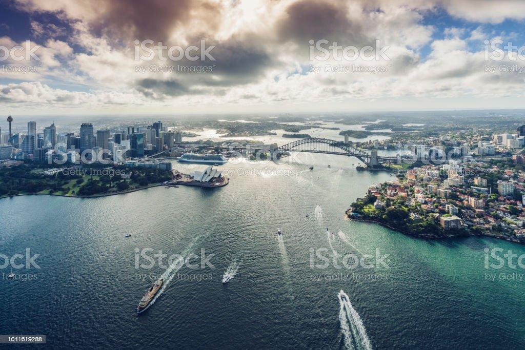 Flugzeug-Blick auf Sydeny Stadtbild, Australien – Foto