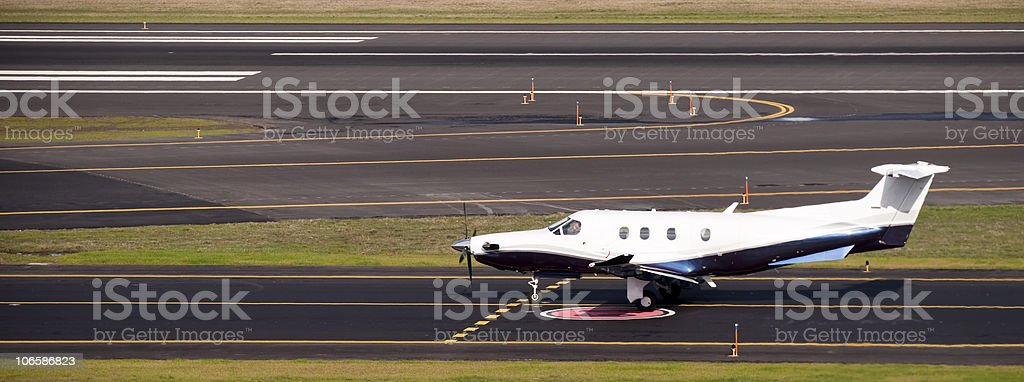 Aircraft Waiting for Takeoff stock photo