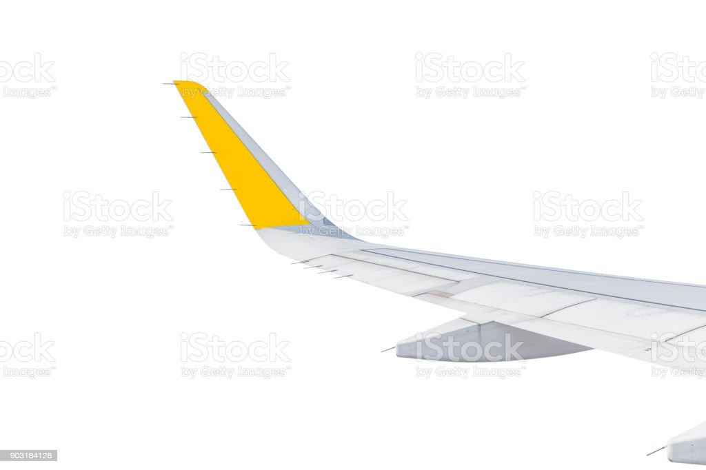 Aircraft wing isolated on white stock photo