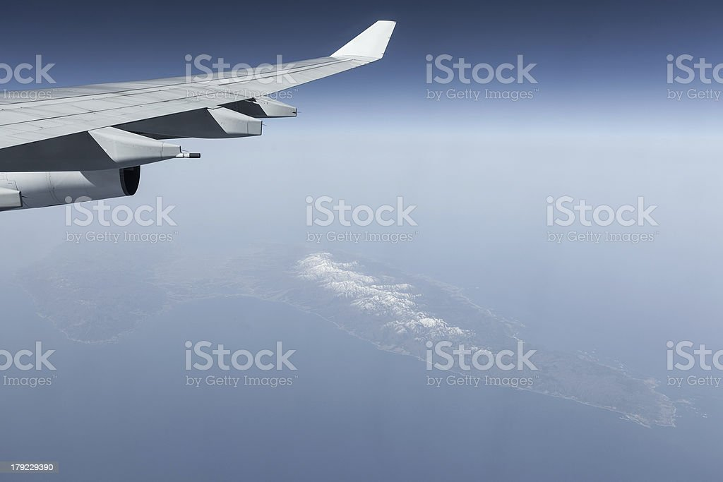 Aircraft wing on one of the islands in Japan royalty-free stock photo