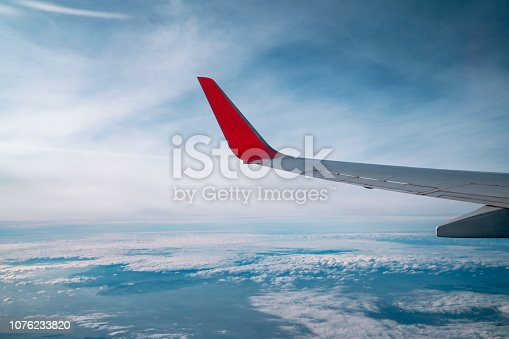 Aircraft Wing with cloudspace sky