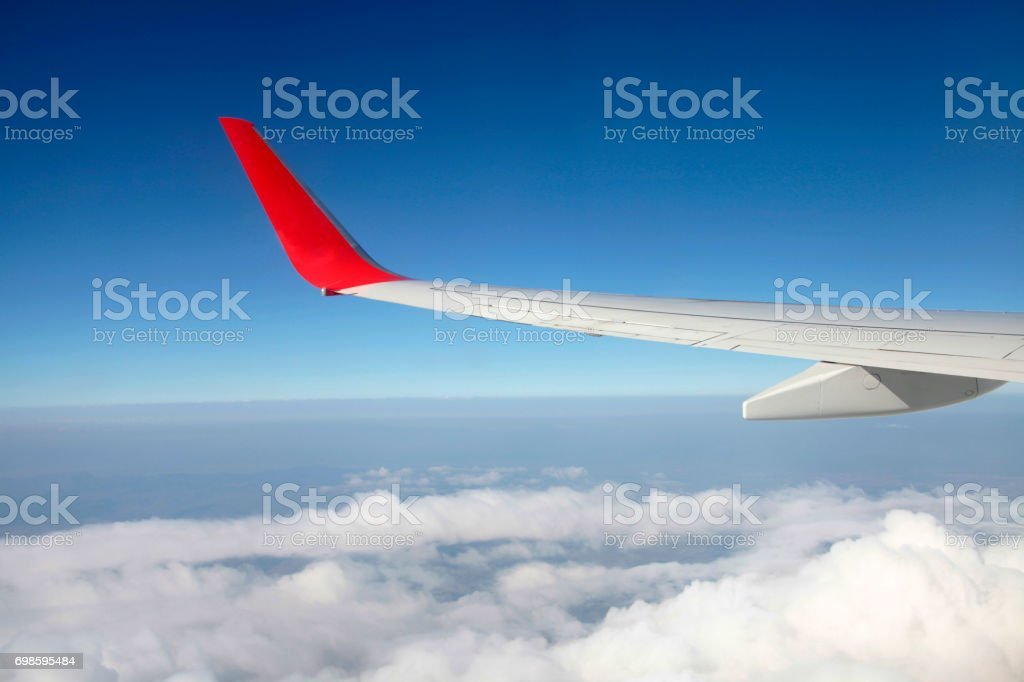 Aircraft wing tip stock photo