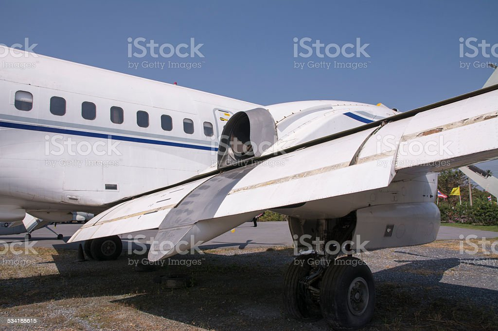 Aircraft wings and fuselage old. stock photo