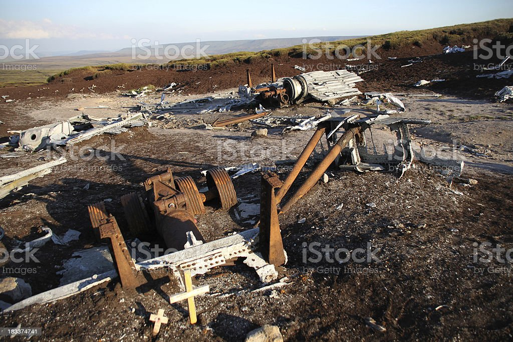 Aircraft wreckage with cross stock photo