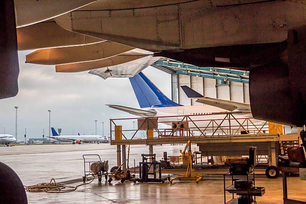 Aircrafts around airport stock photo