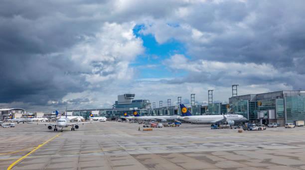 vliegtuigen op terminal 1 in luchthaven frankfurt rhein-main - luchthaven frankfurt am main stockfoto's en -beelden