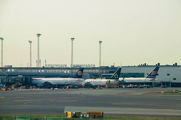Aircrafts parked at the gates stock photo