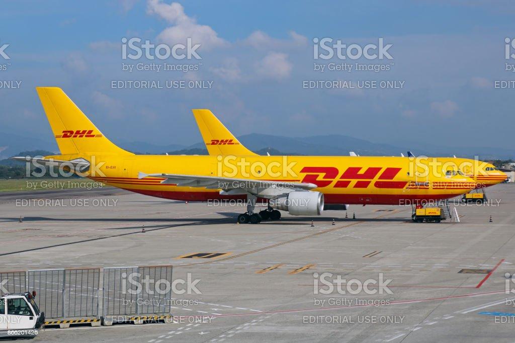 DHL aircrafts stock photo
