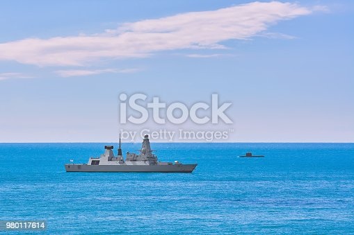 Air-defence Destroyer and Submarine in the Sea