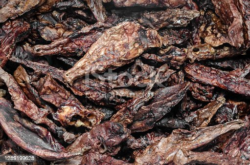 Air-dried healthy treats for dogs concept. Dried beef lungs, background. Pets, small business.