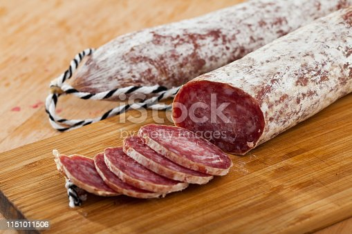 Appetizing slices of air-dried Spanish sausage Longaniza