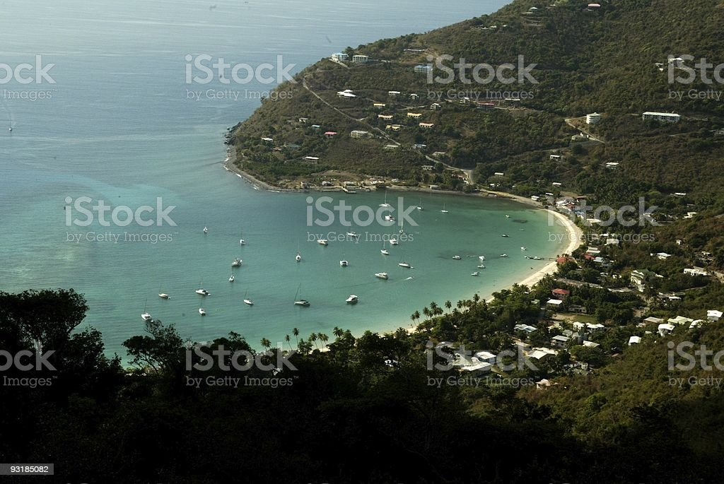 Aireal View of Cane Garden Bay stock photo