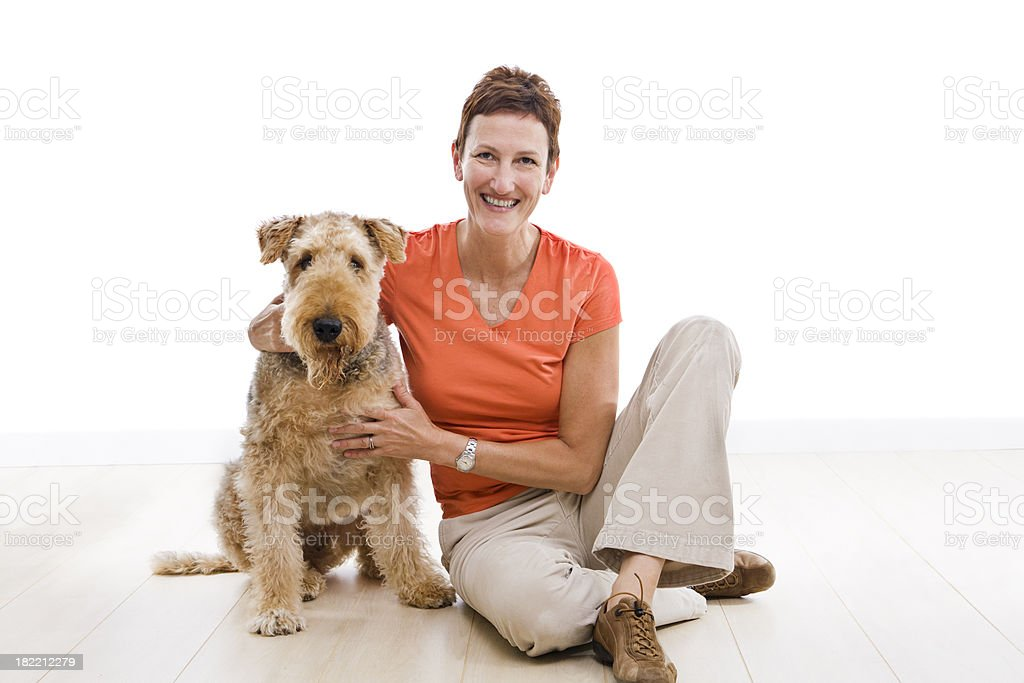 Airedale And Dog Owner stock photo