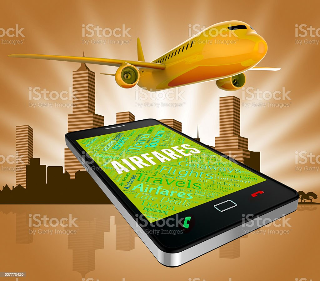 Airfares Online Represents Selling Price And Aeroplane stock photo
