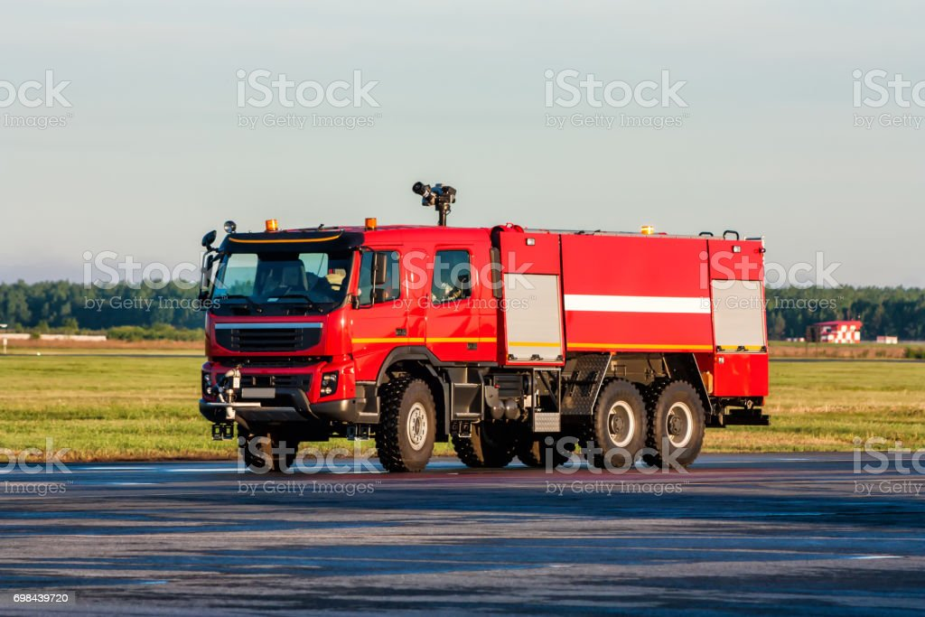Airfield firetruck at the airport стоковое фото