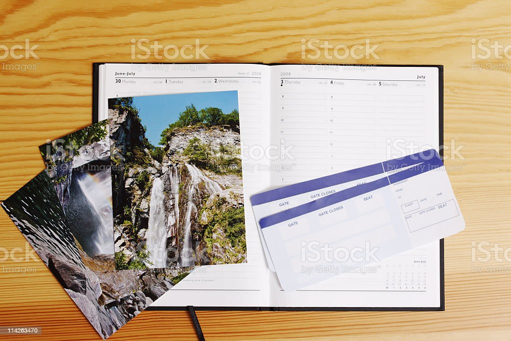 Airflight tickets, agenda and images stock photo