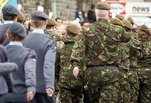 air-force and army cadets marching - uk military stock photos and pictures
