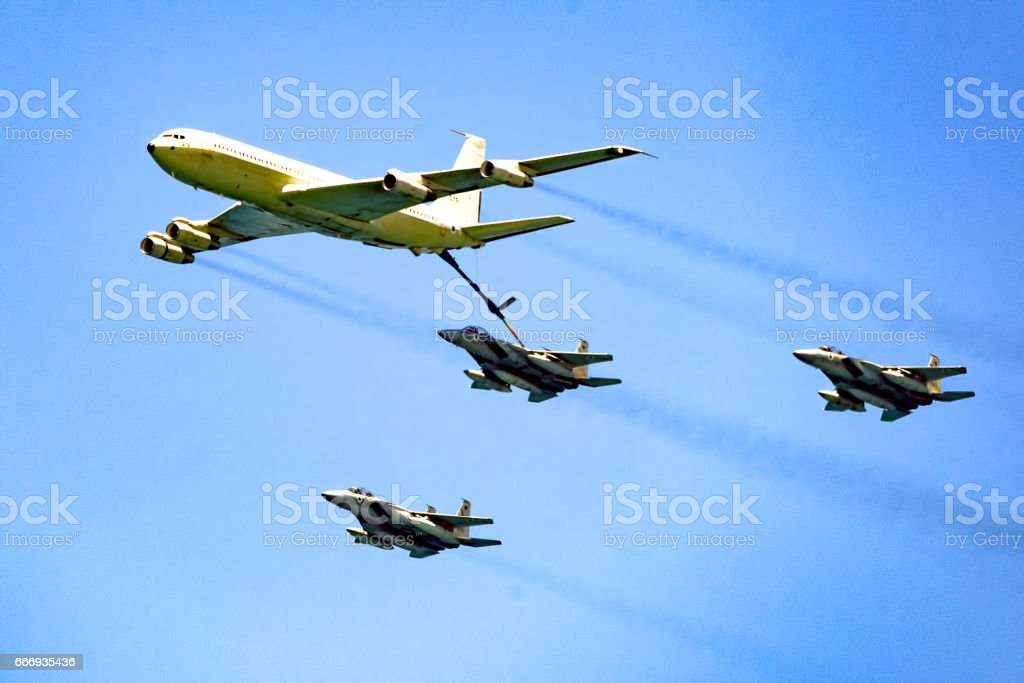 Airforce mid-air refueling stock photo