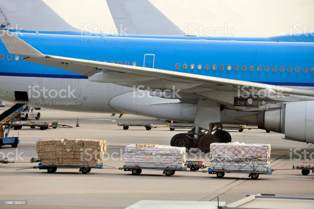 Airfreight at an airport stock photo