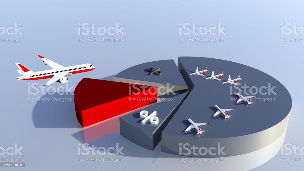 airliines statistics pie airplane colors background stock photo