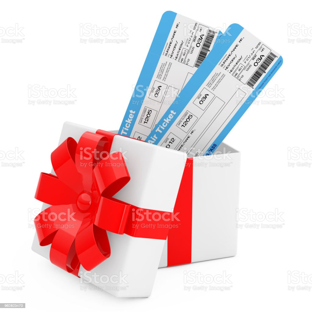 Airline Boarding Pass Tickets Come Out Of The Gift Box With Red
