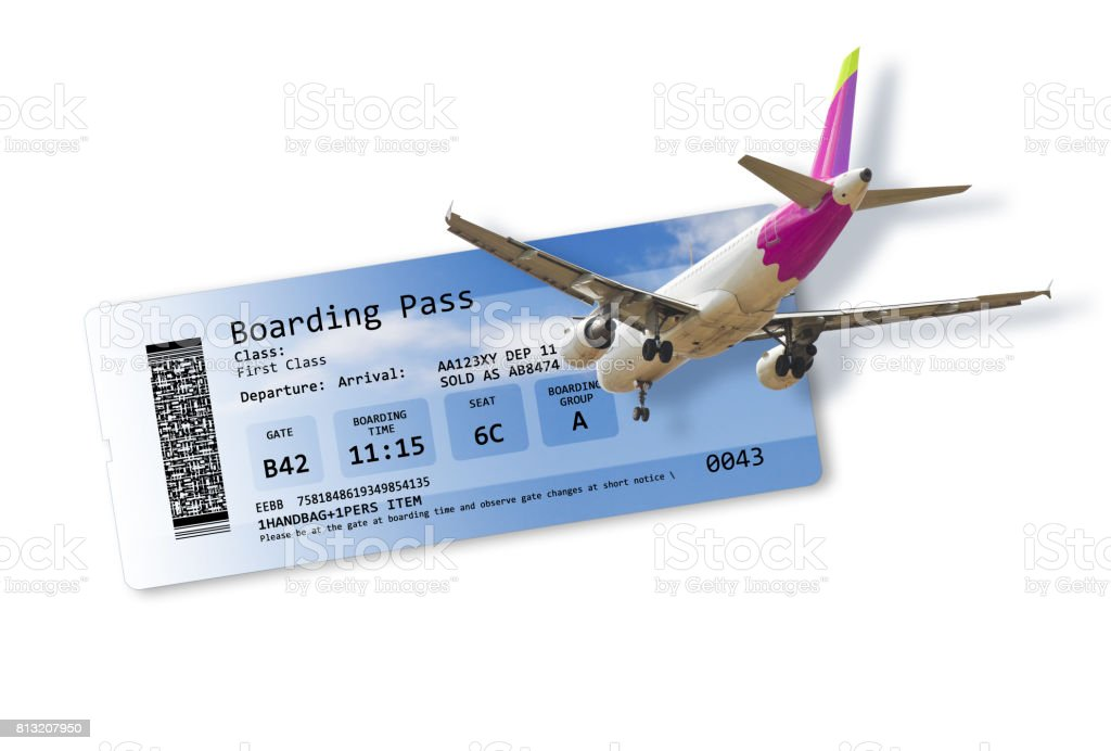 Airline boarding pass tickets isolated on white - Artwork on fuselage is totally invented as well as other content of the image and does not contain under copyright parts. The background images are my property. stock photo