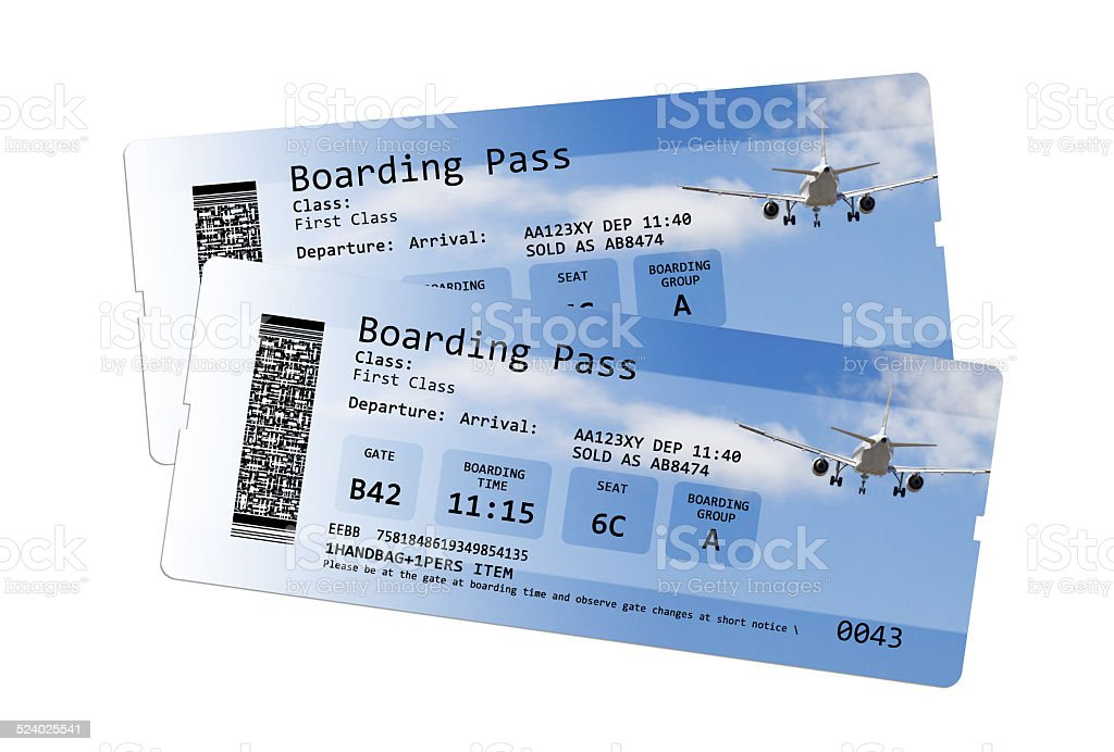 Airline boarding pass tickets isolated on white stock photo