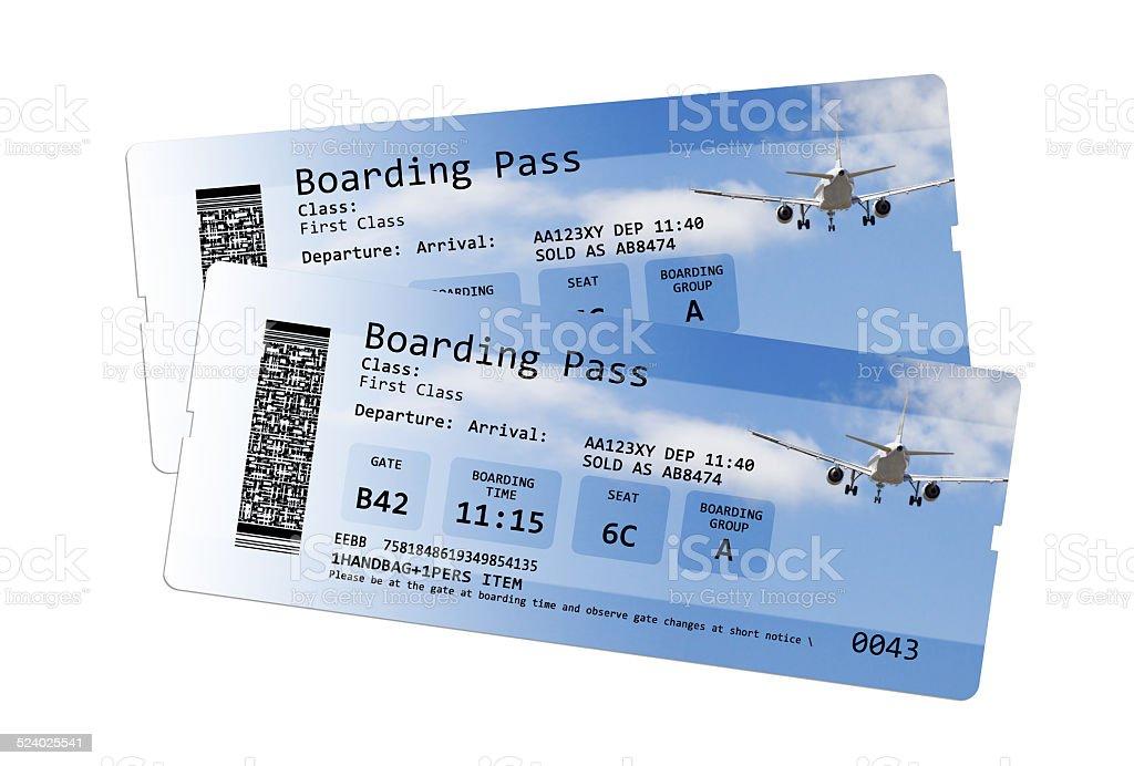 Tarjeta de embarque de la aerolínea entradas Aislado en blanco - foto de stock