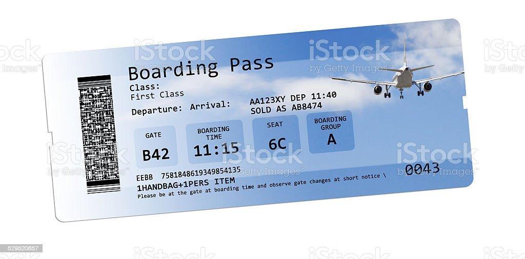 Carte d'embarquement billets isolé sur blanc - Photo