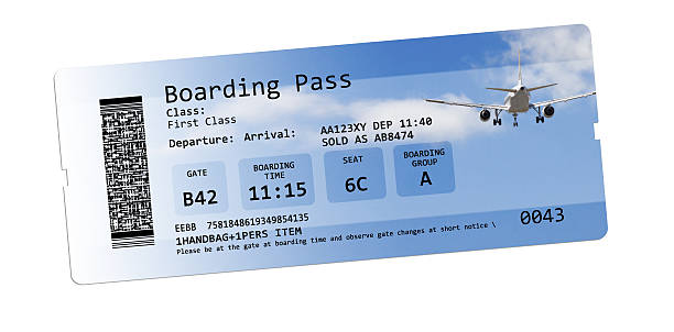 airline boarding pass tickets isolated on white - aeroplane ticket stock photos and pictures