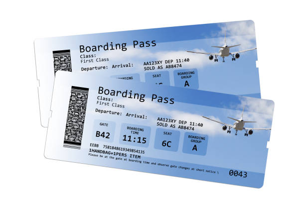 Airline boarding pass tickets isolated on white - The contents of the image are totally invented. stock photo