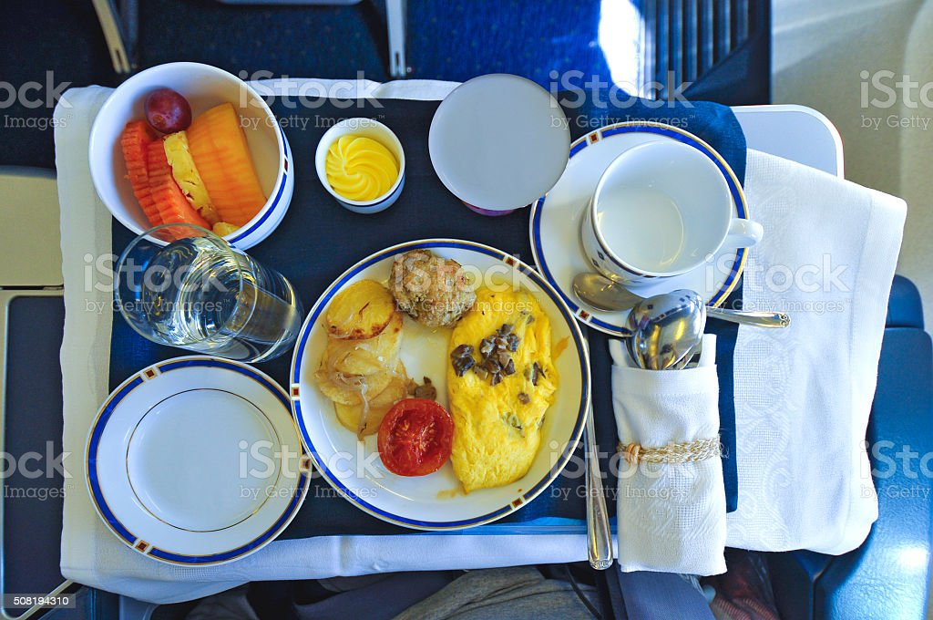 Airline Breakfast meal stock photo