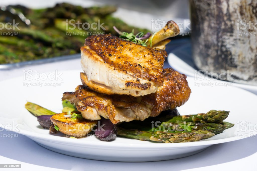 Airline Chicken Breast with Asparagus stock photo
