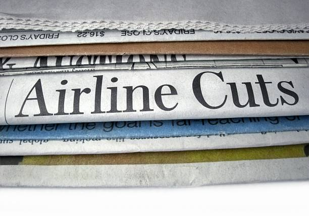 Airline Cuts Newspaper headline Airline Cuts newspaper cutouts of bad news headlines stock pictures, royalty-free photos & images