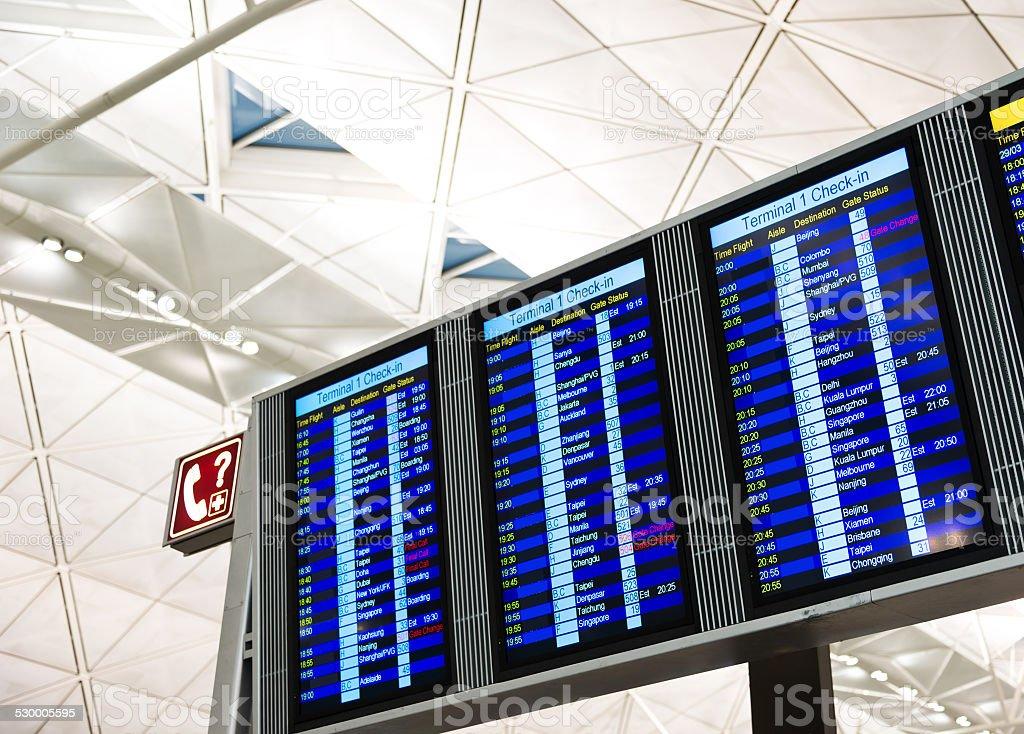 Tableau des départs et de compagnie aérienne - Photo