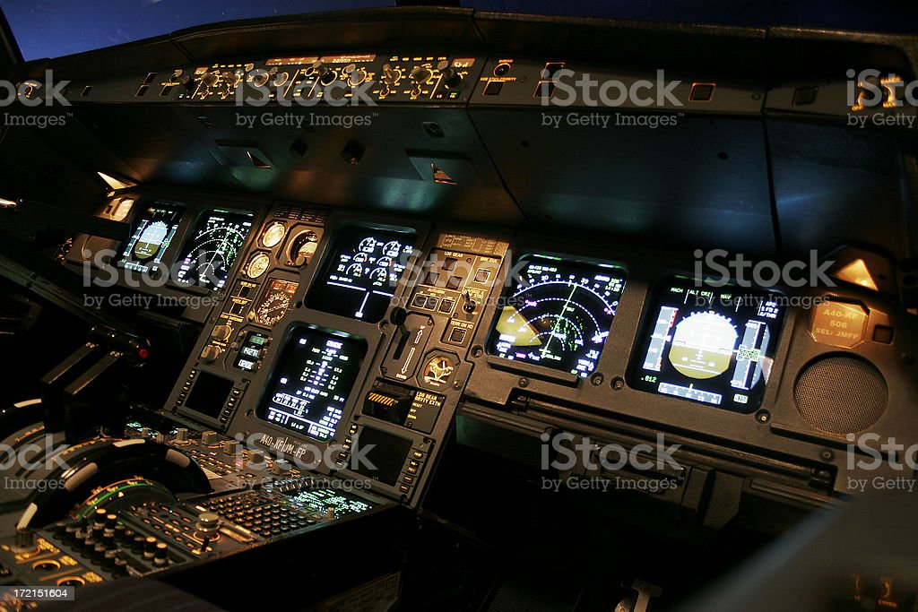 Airline Flight Deck stock photo