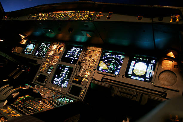 airline flight deck - control panel stock photos and pictures