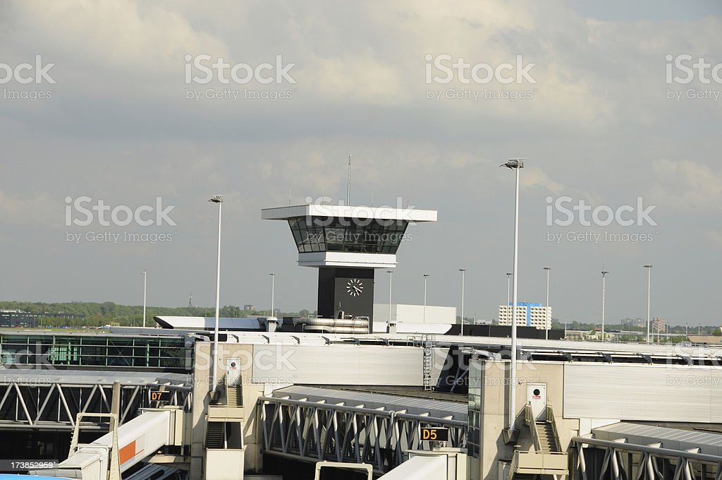 A view of the control tower at an airport.