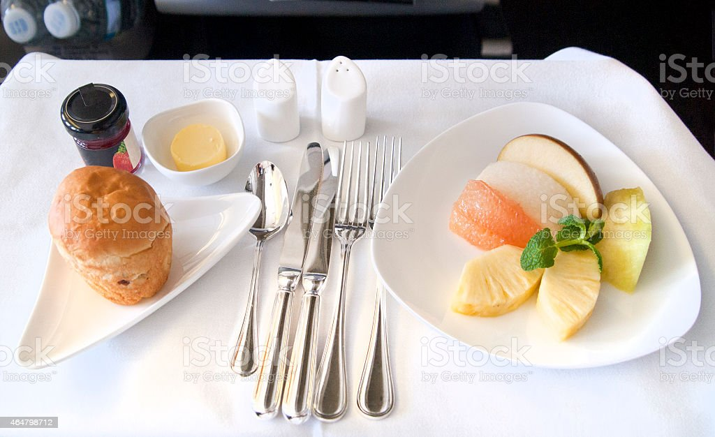 Airline meal served in the business class cabin stock photo