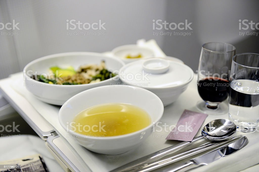 Airline meal served in the business class stock photo