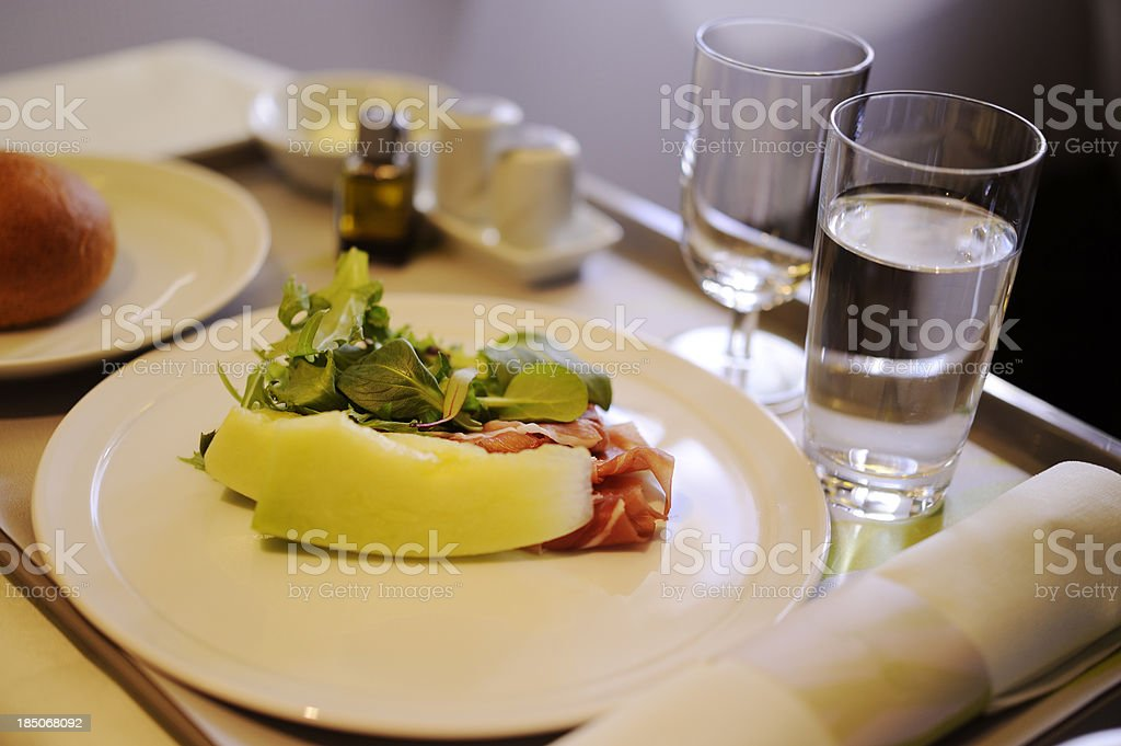 Airline meal served in the prestige class stock photo