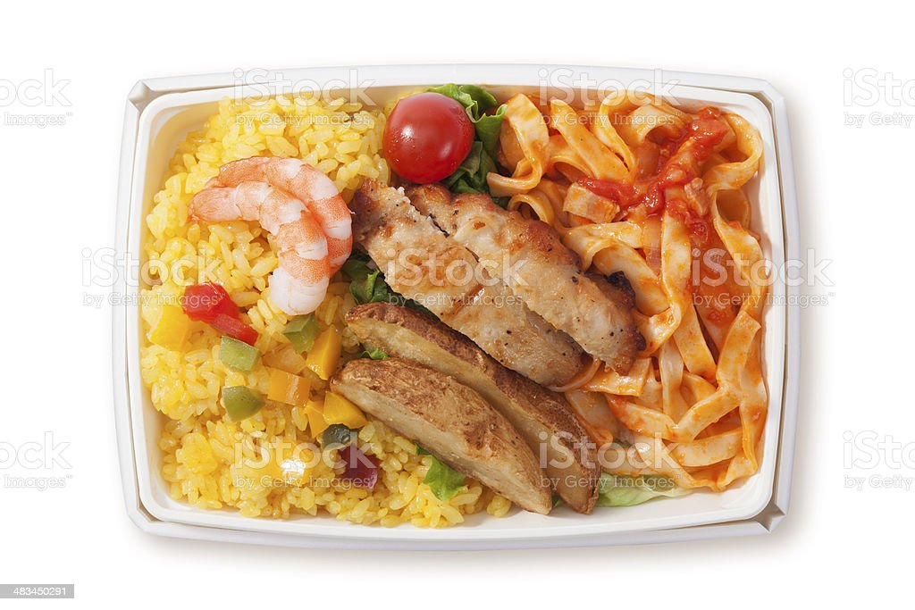 Airline meal,Box Lunch stock photo