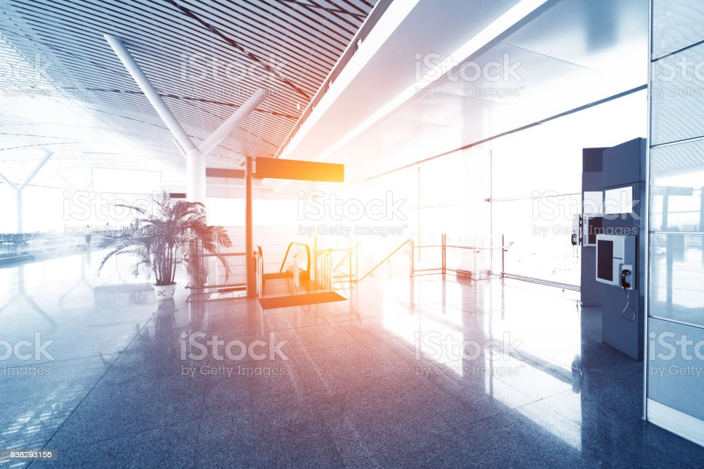 Airline Passengers in an International Airport stock photo